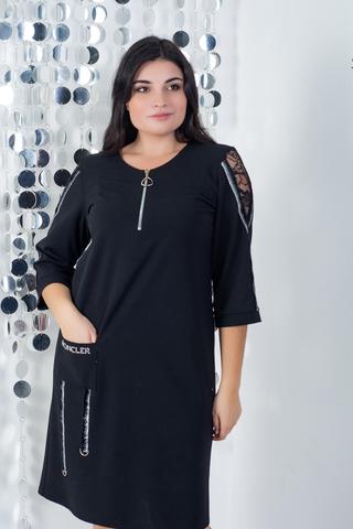 Эльга. Нарядное платье больших размеров. Черный