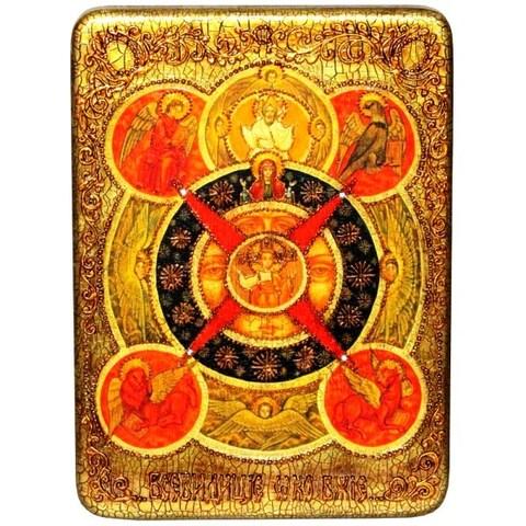 Инкрустированная икона Всевидящее Око Божие 29х21см на натуральном дереве в подарочной коробке