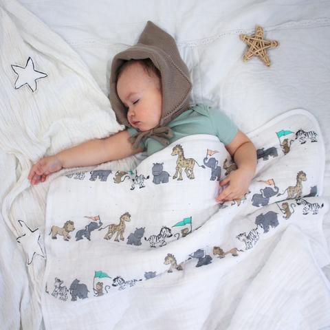 Муслиновое утеплённое одеяло Mjölk Animal Parade
