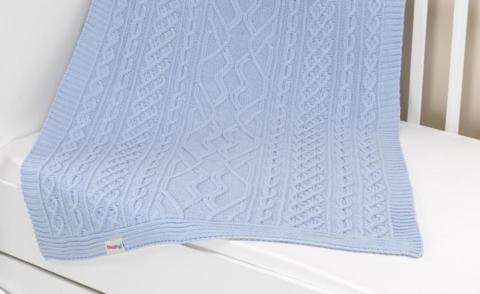 Плед вязанный U14-18, 95*120 см, состав: 100% акрил (голубой)