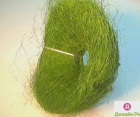 Каркас сизаль круглый пушистый (d=25 см.) Зеленый 1шт.