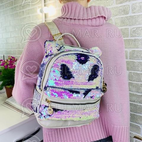 Рюкзак с кошачьими ушками в двусторонних пайетках Перламутровый-Фиолетовый