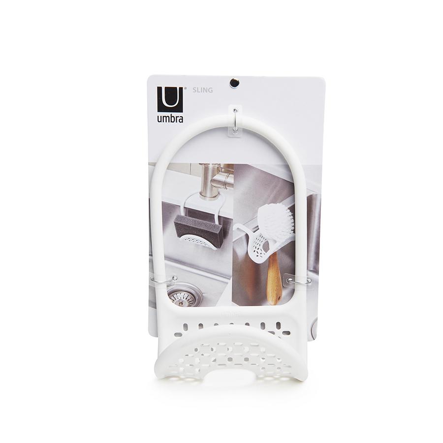 Органайзер-держатель на кран для губки в раковину на кухню SLING белый Umbra 1004294-660 | Купить в Москве, СПб и с доставкой по всей России | Интернет магазин www.Kitchen-Devices.ru