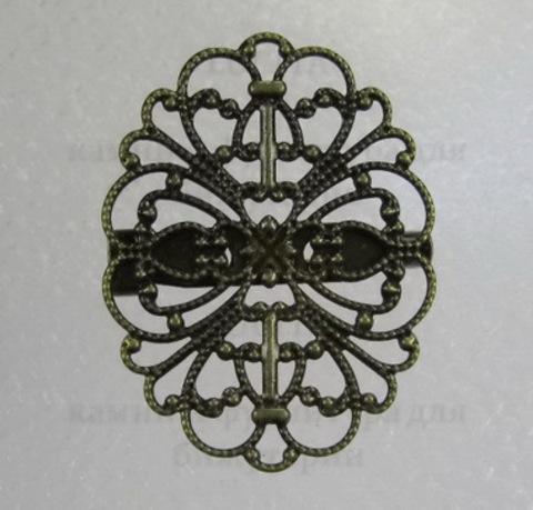 Основа для броши c филигранью 34х26 мм (цвет - античная бронза) ()