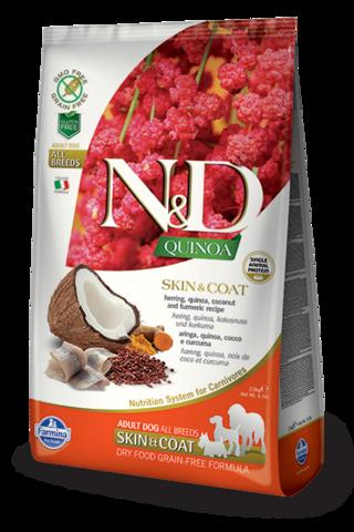 Сухой беззерновой корм Farmina N&D GF Quinoa Skin&Coat Herring Adult Dog All Breeds