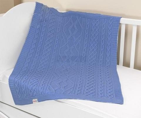 Плед вязанный U14-18, 95*120 см, состав: 100% акрил (синий)