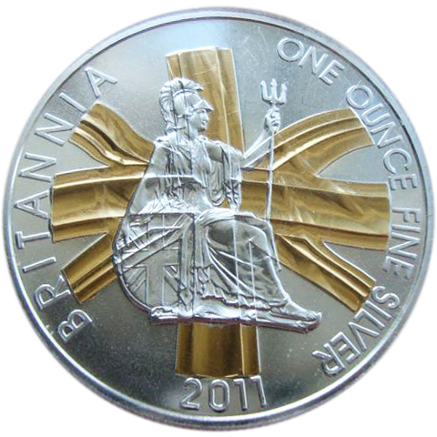 2 фунта. Британия. 2011 г. Серебро с позолотой
