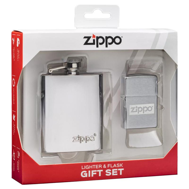 Подарочный набор: фляжка 89 мл и зажигалка в коробке с подвесом ZIPPO недорого