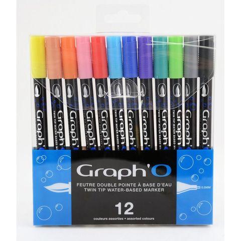 Набор акварельных маркеров GRAPH'IT GRAPH'O 12шт Основные цвета
