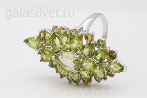 Кольцо с хризолитом,кварцем и цитрином из серебра 925