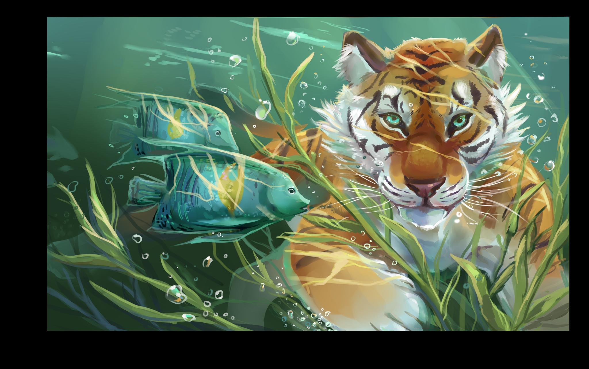 """Постеры Постер """"Подводный тигр"""" п233.png"""