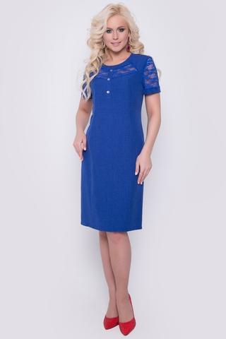<p>Очаровательное платье свободного кроя ждёт свою обладательницу. Идеальный вариант для летнего сезона! Рукав короткий, по спинке замок. Отделка - гипюр.</p>