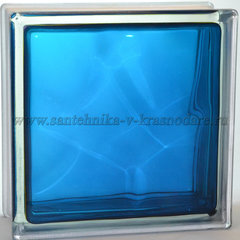 Стеклоблок синий волна окрашенный изнутри Vitrablok 19x19x8