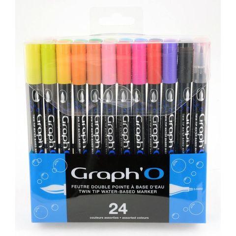 Набор акварельных маркеров GRAPH'IT GRAPH'O 24шт Основные цвета