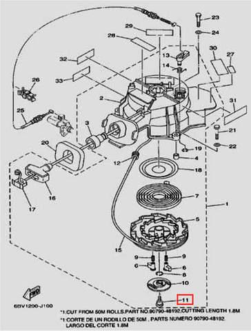Болт тарелки стартера ST6.3 для лодочного мотора F5 Sea-PRO(10-11)
