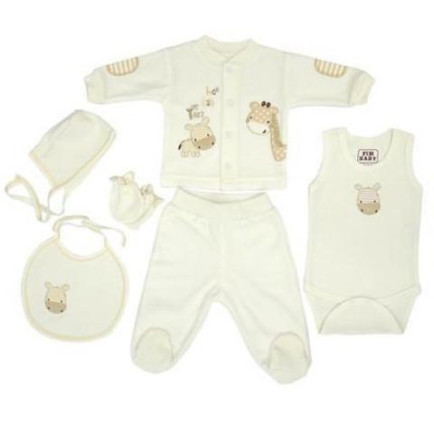 Набор одежды для детей FIMBABY 100863 от 0 до 6 мес. 6 предметов. (р.68 бежевый цвет)