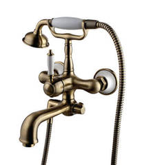 Смеситель для ванны и душа Lemark Villa LM4812B однорычажный с лейкой и шлангом, настенное крепление, цвет - бронза