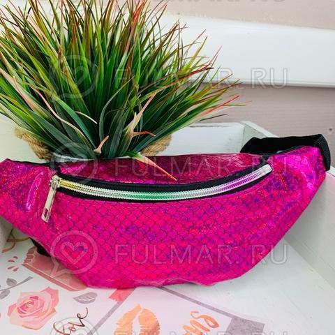 Блестящая поясная сумка летняя для девочки гладкая Русалочка Малиновая