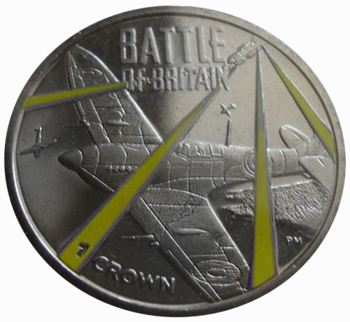 1 крона. Битва за Британию Самолеты. Цветная. Вторая мировая война. О-в Мэн 2015 год