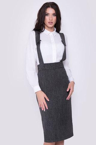Хит сезона!!! Классическая офисная юбка - карандаш с завышенной талией на лямках.(Длина: 44,46,48 = 63см; 50=64см; 52=65см;)