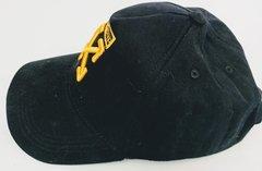 Кепка бейсболка молодежная Off-White Belt (черная с золотым логотипом) 1155