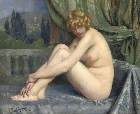 Поль Зиффер. Молодая красавица на балконе (Paul Sieffert). 45.7 х 54.6. Холст, масло. Частное собрание.