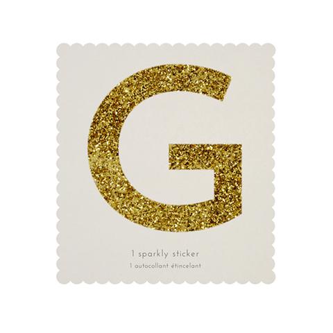 Стикер G, мерцающее золото