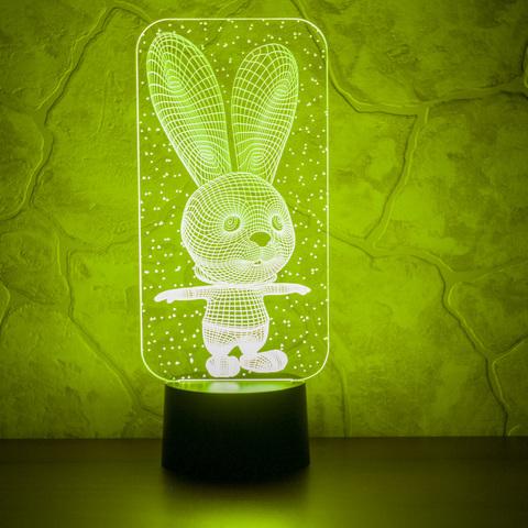 3D лампа Заяц и снежинки