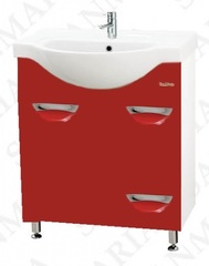 Тумба напольная SanMaria Милан-70, 1 ящик, корзина, красная