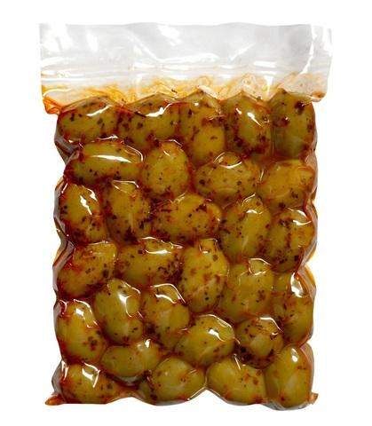 Оливки зеленые Халкидики с паприкой Attica Food 250 гр