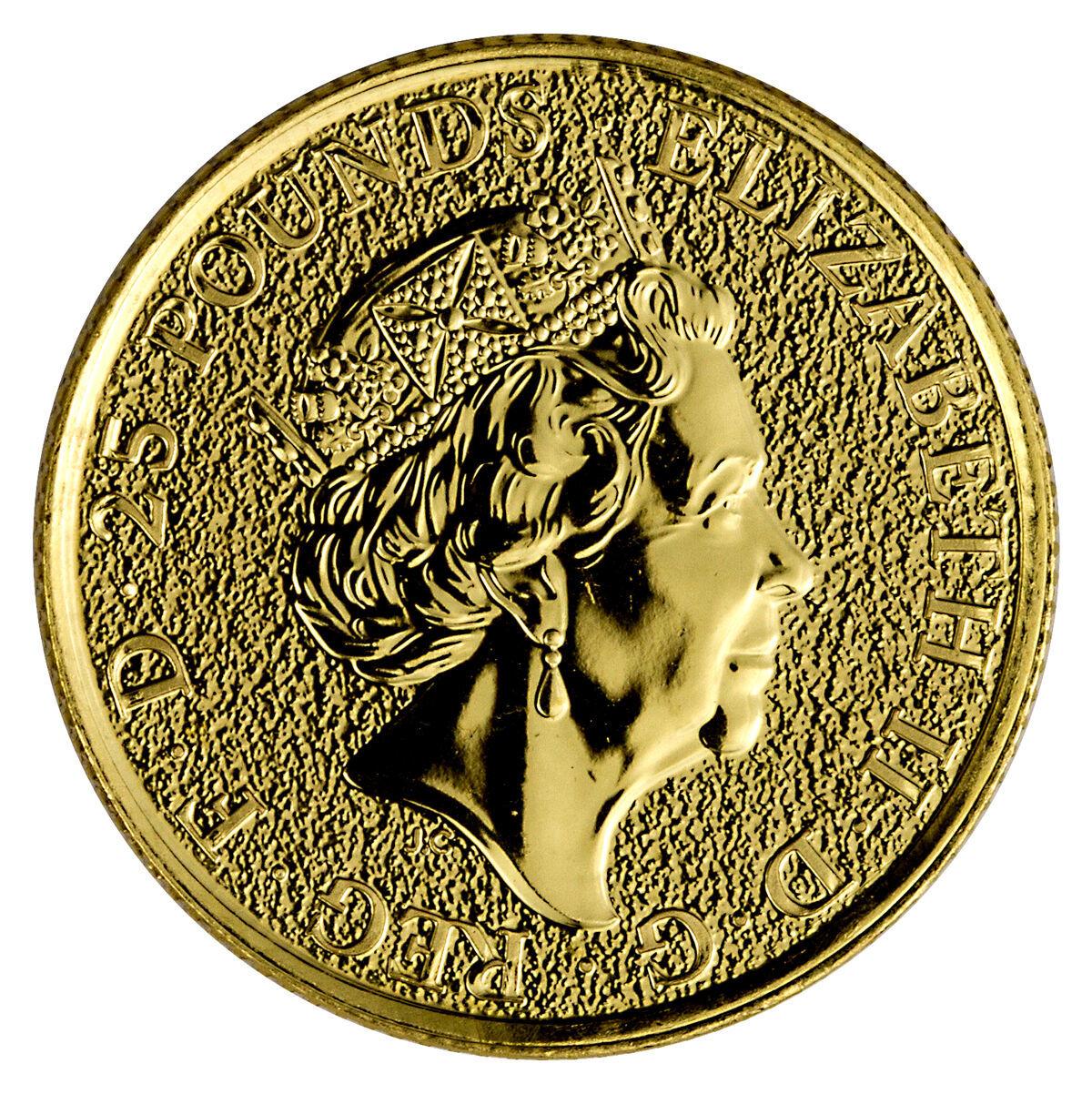 25 фунтов. Английский лев Мистические звери Королевы. Великобритания. Золото. 2016 год