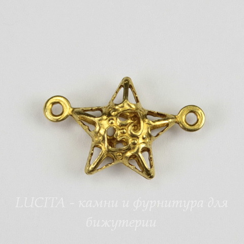 "Коннектор ""Звездочка"" (1-1) 17х11 мм (цвет - латунь)"