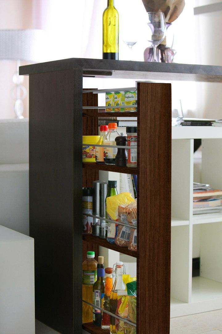 Полка выдвижная, для кухни и ванной комнаты 94х52х12 см, 4-х этажная, венге