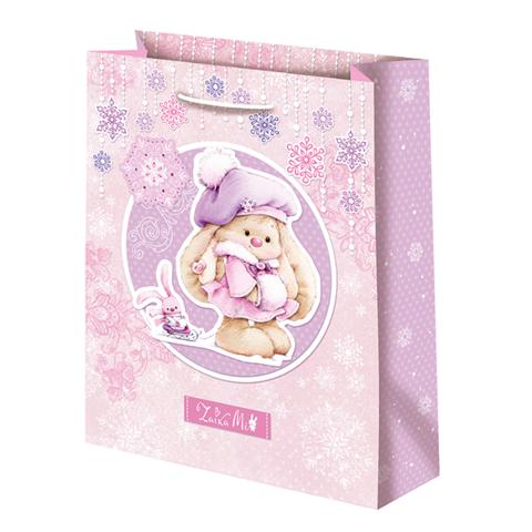 Подарочный пакет Зайка Ми Новый год розовый (средний)