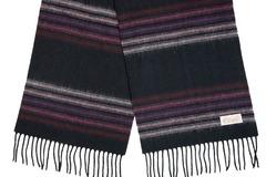 Шерстяной шарф черный в полоску 30471