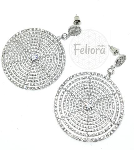 Серьги-круги из серебра с цирконами в стиле BOUCHERON