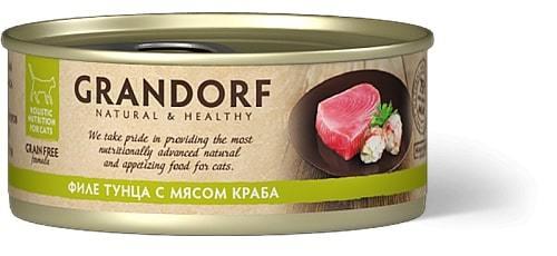 Купить консервы для кошек Грандорф с тунцом и крабом