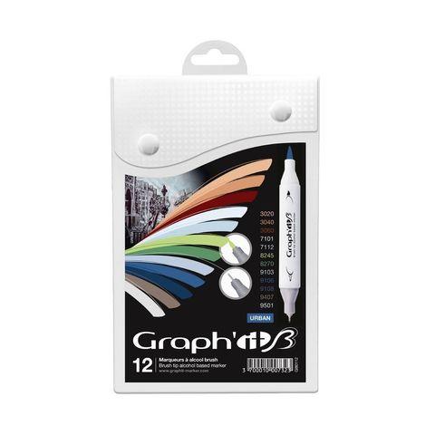 Набор маркеров GRAPH'IT Brush 12шт Городские цвета