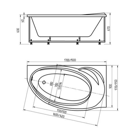 Ванна акриловая Aquatek Бетта170х97см. на каркасе и сливом-переливом левая/правая схема