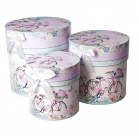 Набор коробок круглых Романтик 3шт, D21хH21см, розовый/голубой