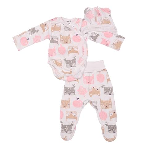 Mini Fox. Комплект для новорожденных швами наружу 3 предмета, белки