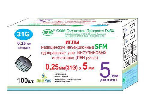 Иглы для шприц - ручек SFM 5 мм х 31G