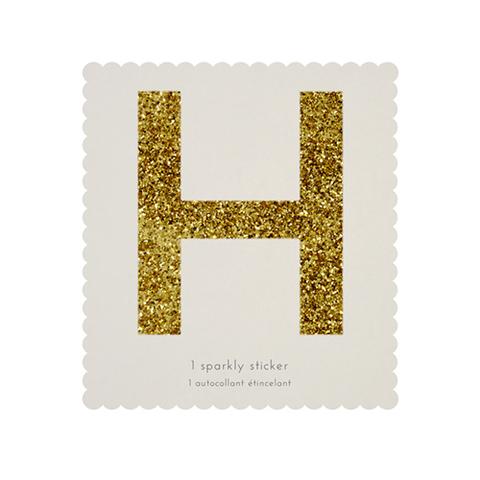 Стикер H, мерцающее золото