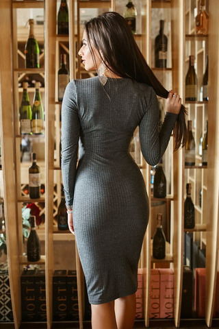 Платье миди трикотажное, серое 2