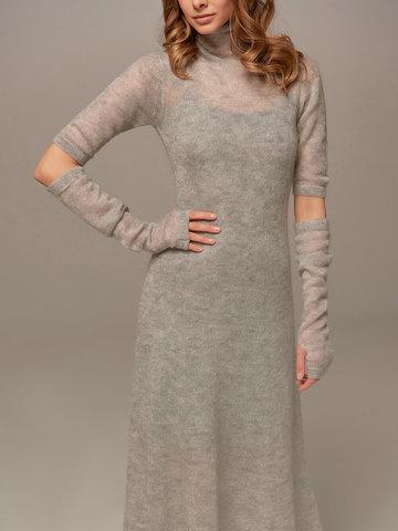 Женское светло-серое платье миди с длинным рукавом - фото 5
