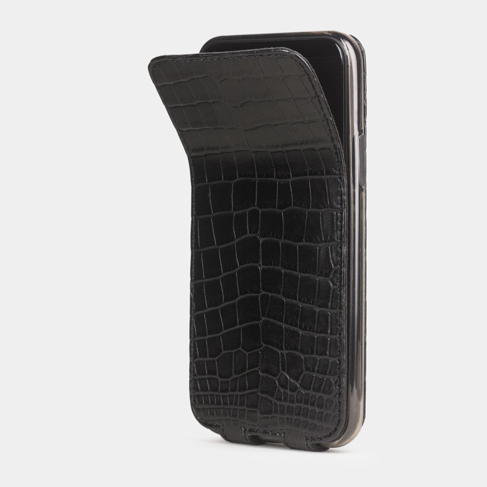 Чехол для iPhone 11 Pro Max из натуральной кожи крокодила, черного цвета
