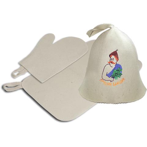 Набор из 3-х предметов (шапка Лучший банщик, рукавица, коврик), войлок 100%
