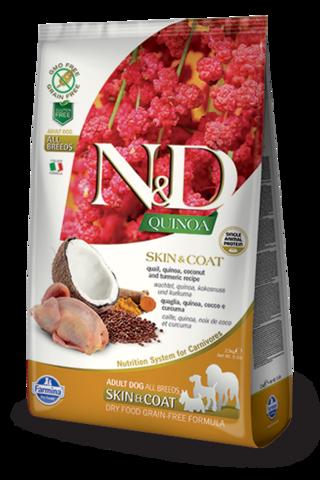 Сухой беззерновой корм Farmina N&D GF Quinoa Skin&Coat Quail Adult Dog All Breeds