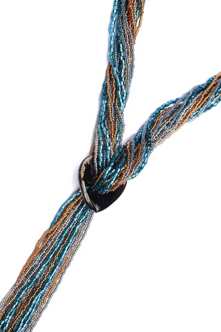 Бисерный галстук из 18 нитей янтарно-зеленый