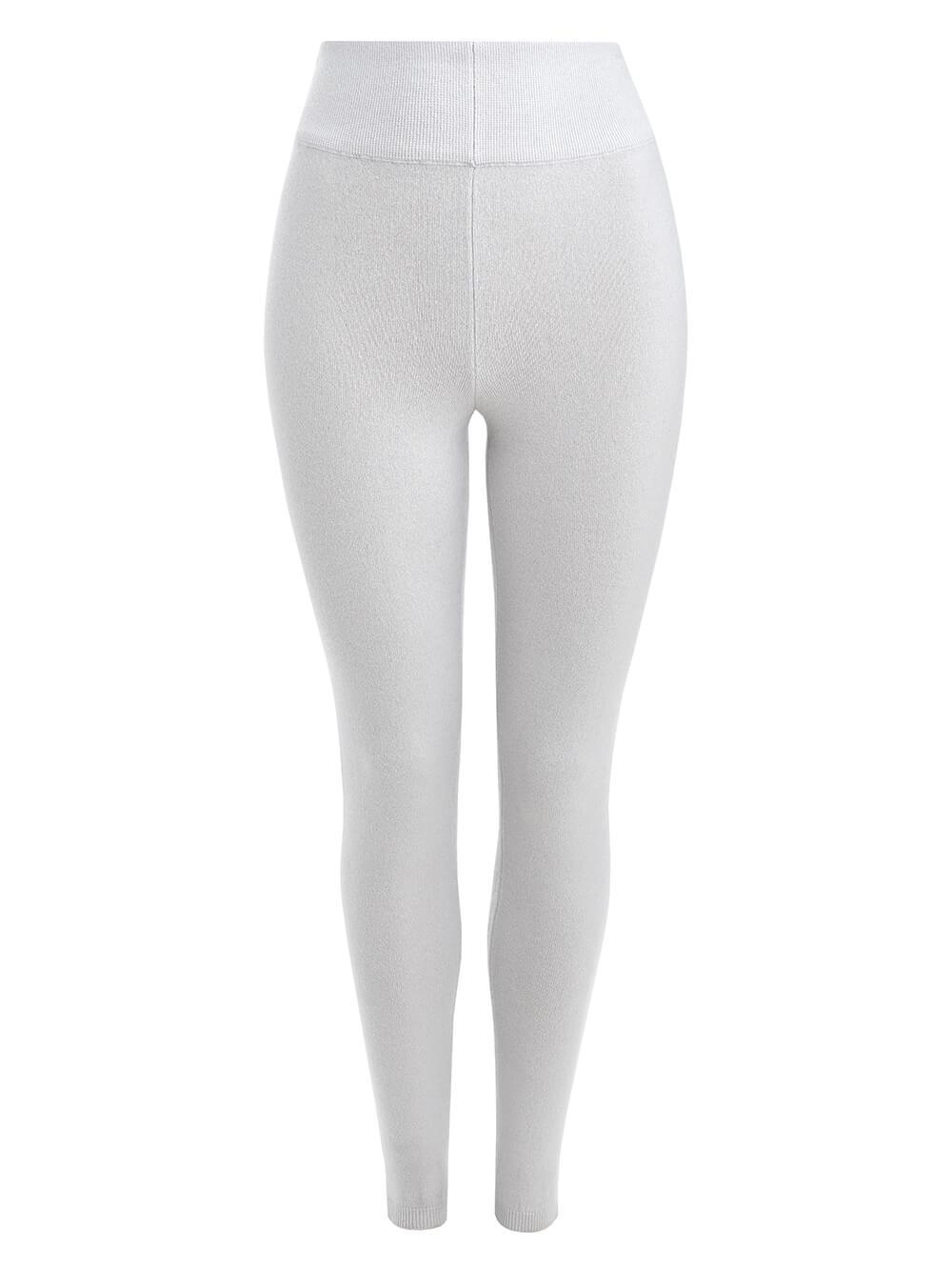 Женские брюки светло-серого цвета из 100% кашемира - фото 1
